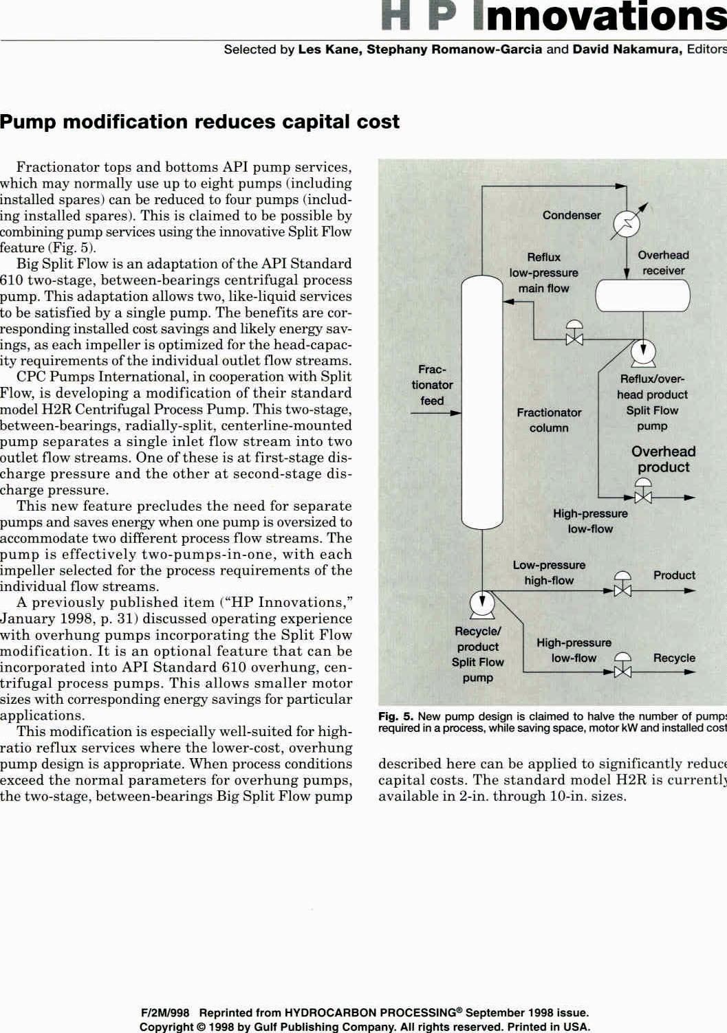Split Flow Pumps — Process Diagrams